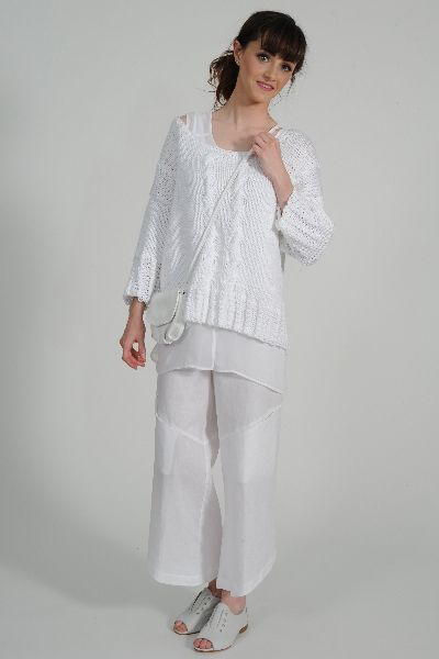Colleen pure cotton ¾ sleeve hand knit sweater, Shatsu tunic, Tamara linen pant, NZ made Leather Bag, Primo leather shoe