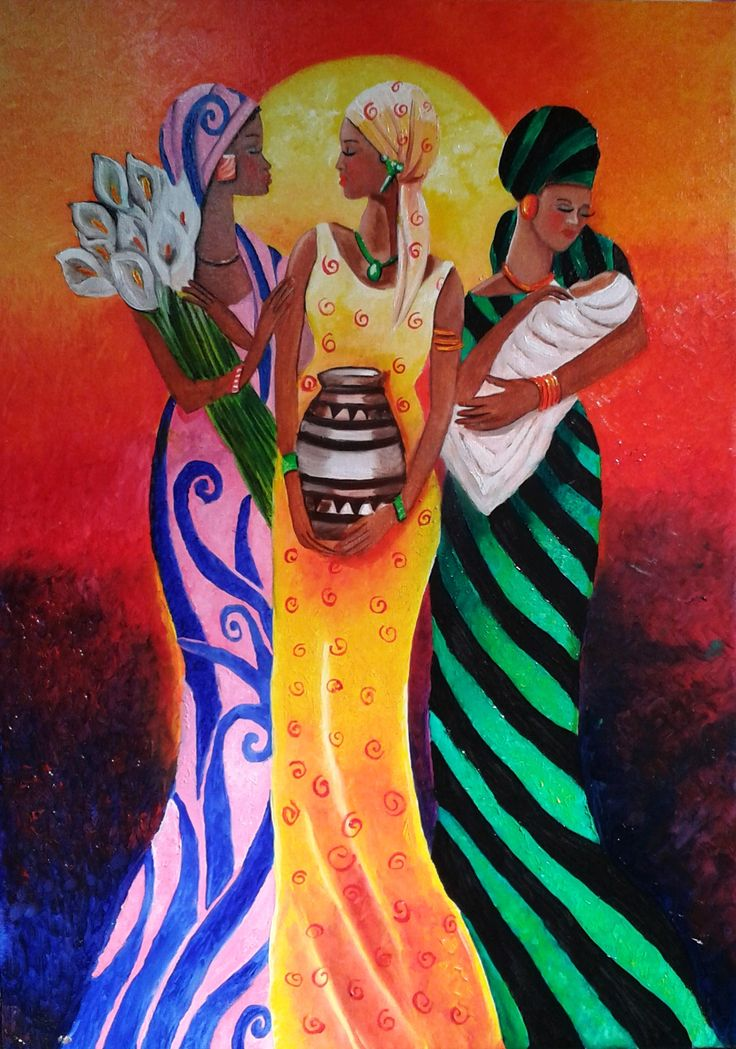 Regina Oyarzún - africanas óleo sobre tela de 50 x 70 cms (réplica)
