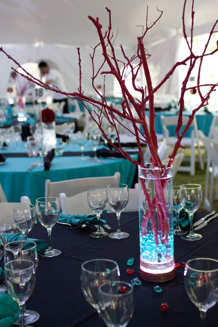Pink And Blue Centerpieces Centerpiece Lighted Vase