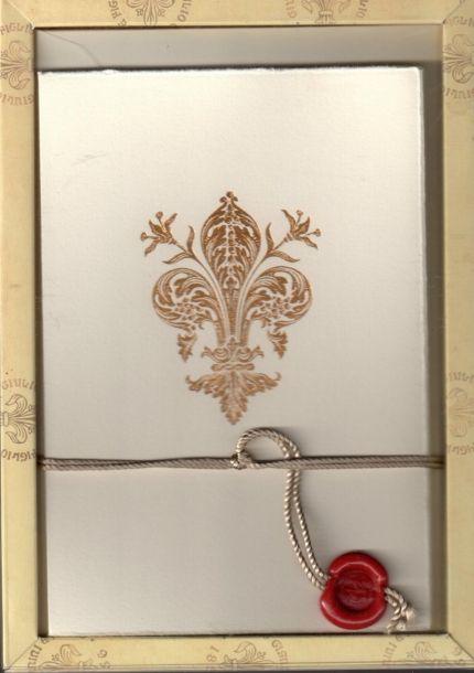 """Logo ideas - this evokes the right feeling. Biglietti con busta cm 12x18 """" Giglio oro"""" - Giulio Giannini e Figlio S.r.l. - Rilegatura artistica del libro e carta decorata a mano dal 1856"""