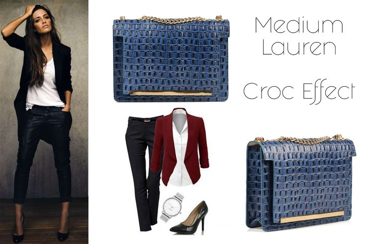 The Medium Lauren made of natural leather with croc effect in turquoise shades can match your office style @w