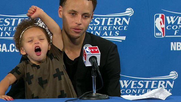 Steph Curry's two-year-old daughter Riley tells him to 'be quiet' and waves to reporters during press conference | Daily Mail Online