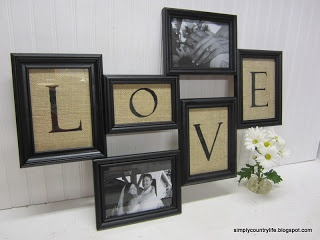 burlap wood love frame collage made from spraypainted thrift store frames