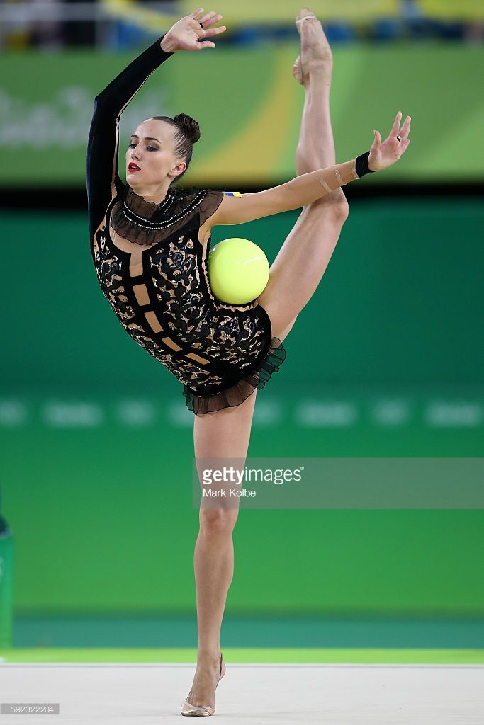 Ganna Rizatdinova of Ukraine competes during the Women's Individual All-Around…