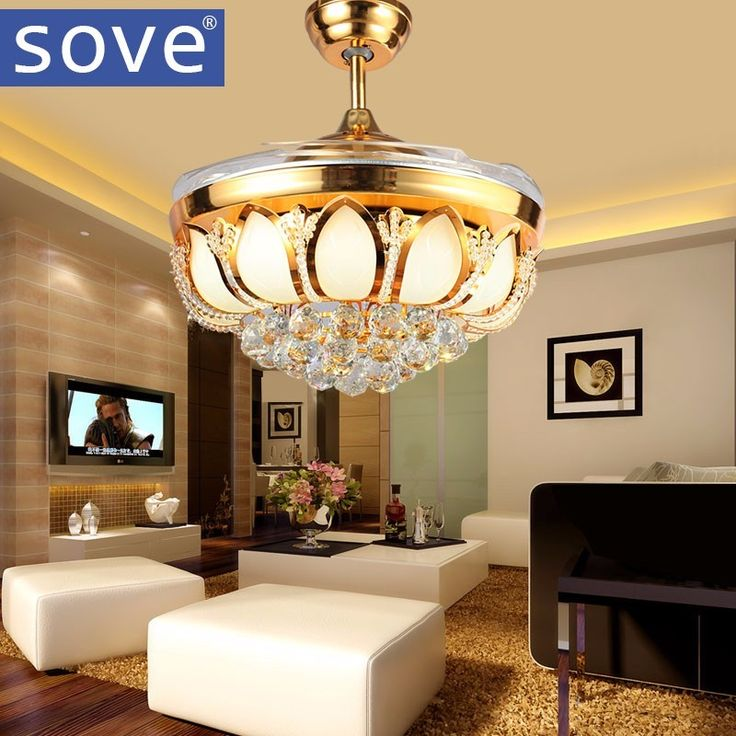 Cheap ceiling fans with lights, Buy Quality ceiling fan directly from China crystal ceiling fan Suppliers: 52 inch Modern LED Crystal Ceiling Fans With Lights folding ceiling fan lamp Remote Control Living Room Ventilador De Teto