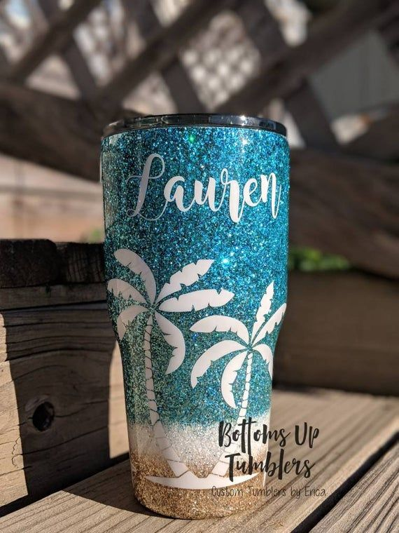 Custom Glittered Beach Tumbler Cup | Cups | Tumbler cups