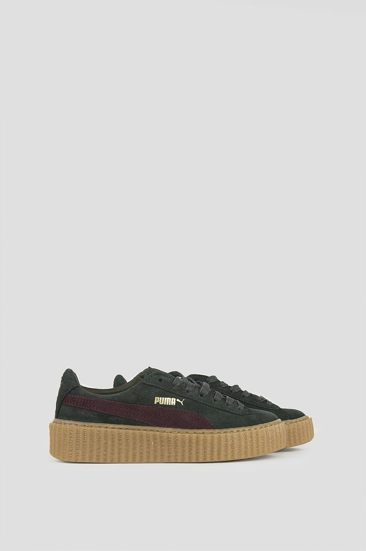 PUMA BY RIHANNA WOMENS SUEDE CREEPERS GREEN BORDEAUX GUM