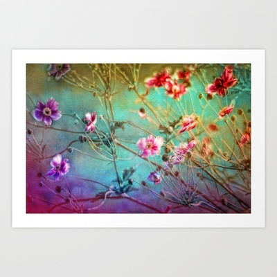 FLEURS DU PRÉ - Wildflowers in painterly style Art Print by ♕ VIAINA - $19.99