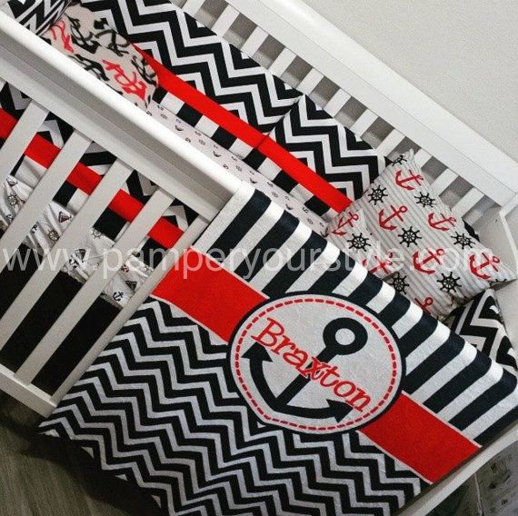 Nautical Baby Bedding Anchor Bedding Design by PAMPERYOURSTYLE