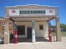 Restored Magnolia gasoline station museum on Route 66 in Shamrock in Wheeler County, Texas.