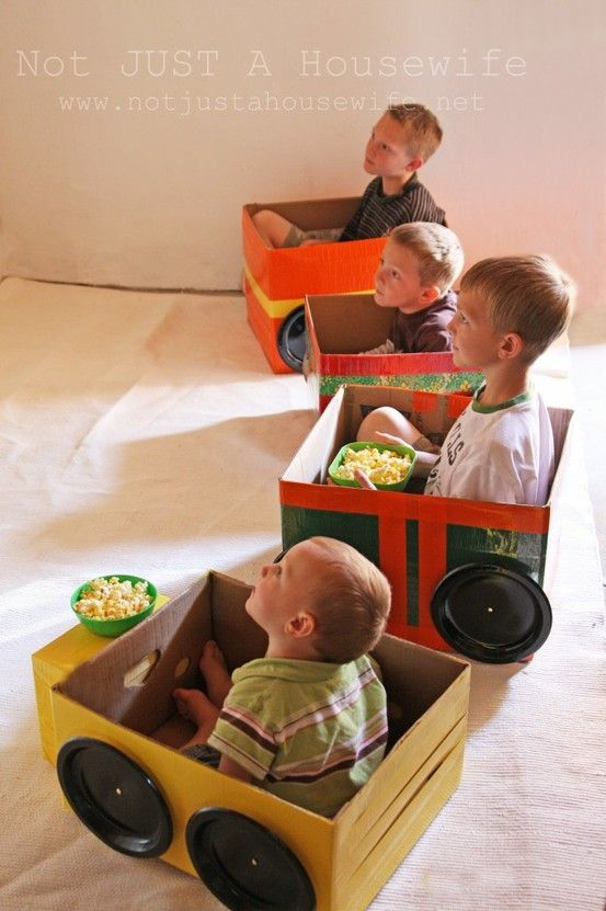 Make cardboard cars for your children and have an indoor drive in movie! Great way to reuse your Honest boxes.