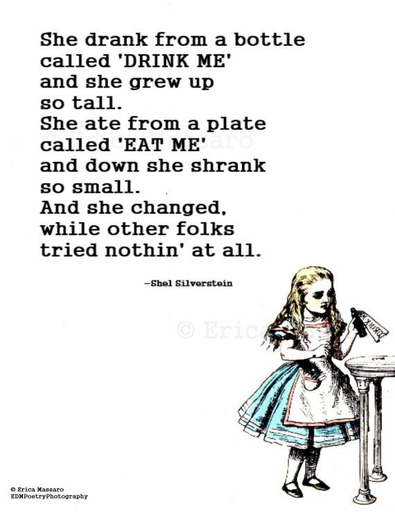 She Changed-Alice in Wonderland-Inspirational Quotes-Erica Massaro, EDMPoetryPhotography on Etsy.