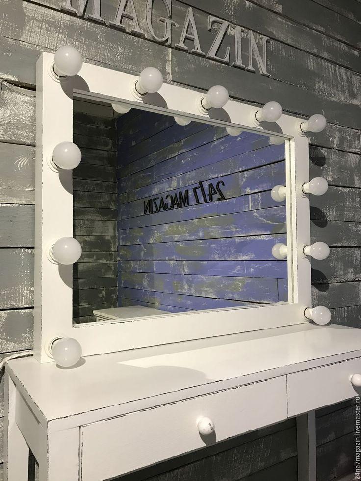 Купить Гримерное зеркало ELDER. - чёрно-белый, зеркало, зеркало настенное, состаренное зеркало