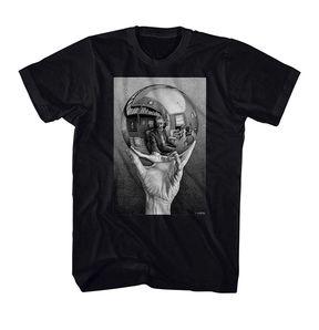 MC Escher Hands With Reflecting Sphere Art T-Shirt is a fun addition to any art or Escher fan's wardrobe. It's an Escher selfie!