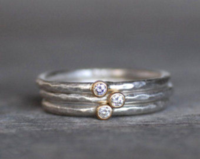 Set de anillo de diamante azul hoja  18k pila de oro y plata