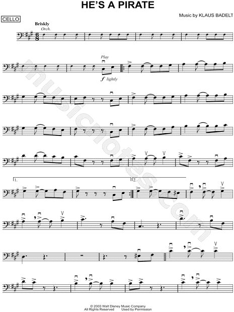 pirates of the caribbean cello sheet music pdf