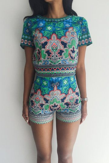 Tribe Print Pattern Crew Neck Co-ord