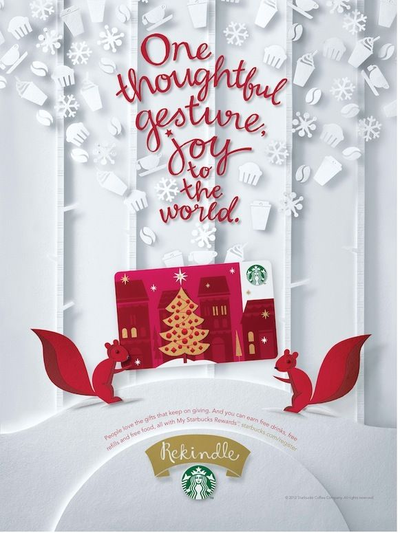 Starbucks Christmas 2012 printed ad campaign. by Sarah Jane Coleman- Paper Craft Theme