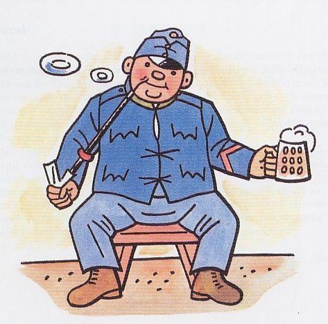 Dobrý voják Švejk tak jak ho stvárnil Josef Lada. Mírně jednoduchý hlavní hrdina ale o to víc populární.