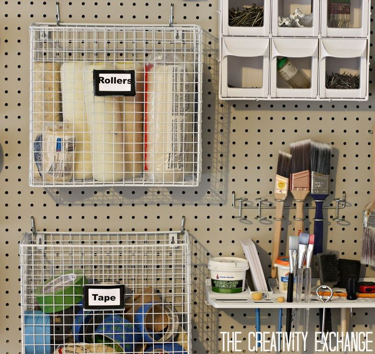 DIY Garage Pegboard Storage Wall using only 5.5 inches of Depth. {The Creativity Exchange}