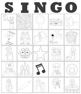 Printable, Customizable Primary Song Bingo Cards