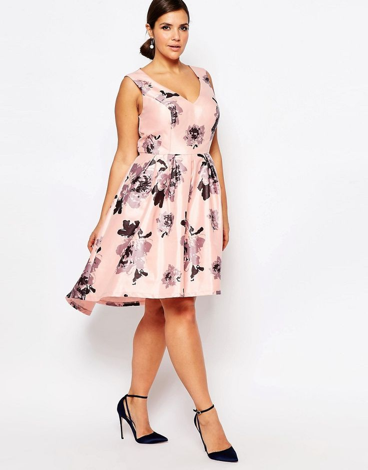 Image 4 of Chi Chi London Plus Plunge Front High Low Midi Dress In Floral Print