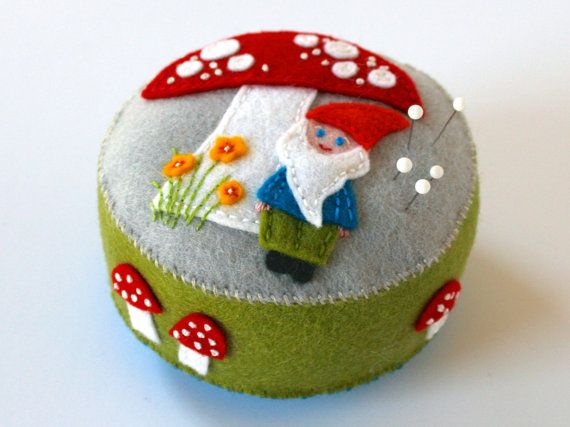 Handmade felt gnome pincushion with a red by FabricAndInk on Etsy
