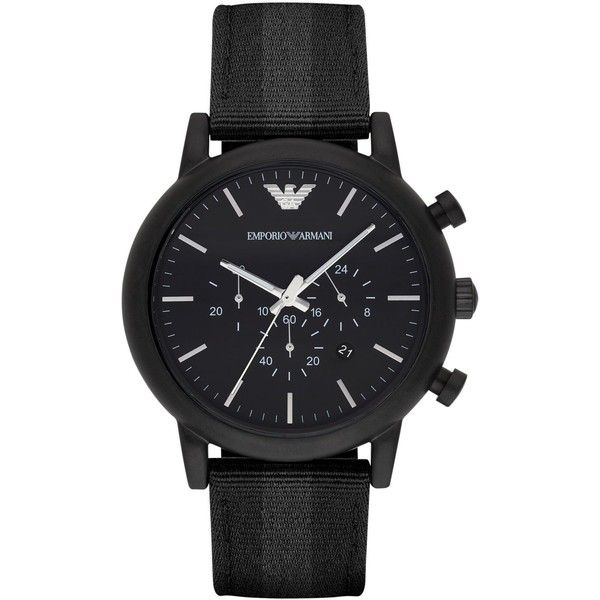 Emporio Armani Men's Chronograph Luigi Black Leather Backed Nylon... ($225) ❤ liked on Polyvore featuring men's fashion, men's jewelry, men's watches and no color