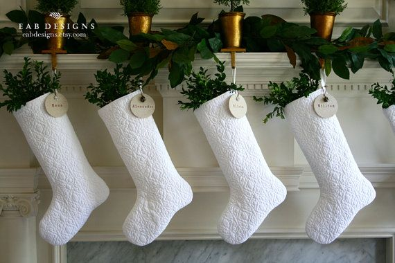 RESERVED LISTING, White Christmas Stocking, White Stocking, White Christmas, Quilted Christmas Stocking, Personalized Stocking