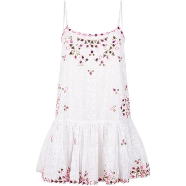 Juliet Dunn Mirror Embellished Cotton Cami Dress ($335) ❤ liked on Polyvore featuring dresses, embroidered dress, cotton dress, white cotton camisole, white cami and indian cotton dresses