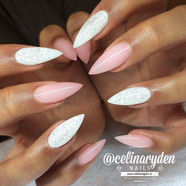 Stiletto Nail Art With Diamonds: Pastel Pink And White Shimmer Stiletto Nails. ️