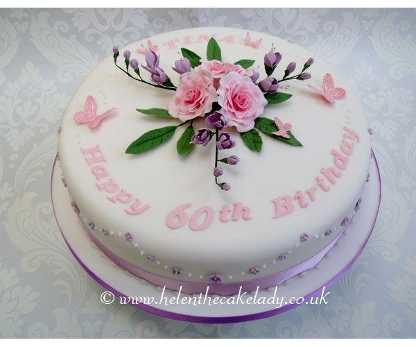 Ladies 60th Birthday cake. Roses and freesias sugar ...