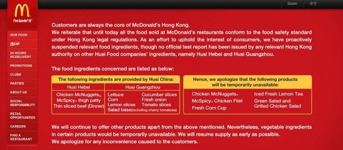 mac donalds hong kong scandal food