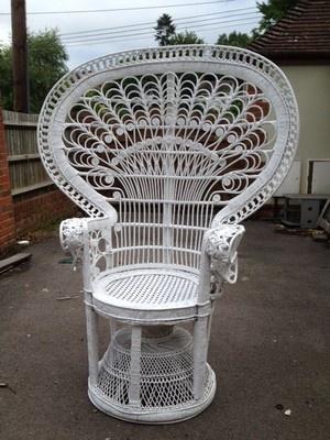 White Wicker Peacock Chair