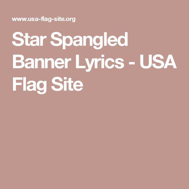 Star Spangled Banner Lyrics - USA Flag Site