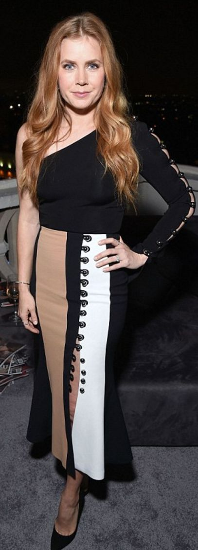 Who made  Amy Adams' tan skirt, jewelry, and black button top?