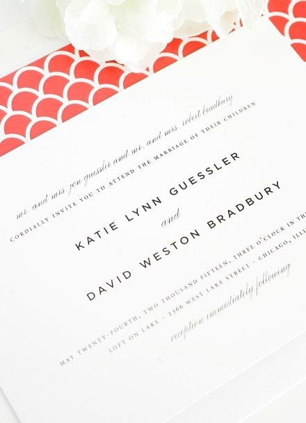 Simple, timeless wedding invitations with red envelope liner