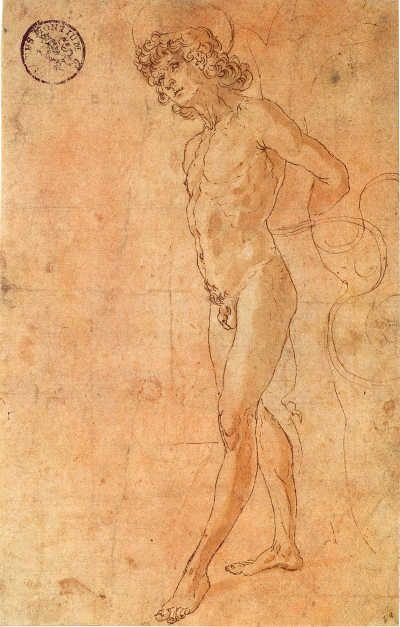 Antonio del Pollaiolo  San Sebastiano, 1475 circa  penna, inchiostro marrone e acquerello su carta bianca con qualche coloratura rossastra, mm 222 x 145  ©Düsseldorf, Museum Kunstpalast, Sammlung der Kunstakademie (NRW)