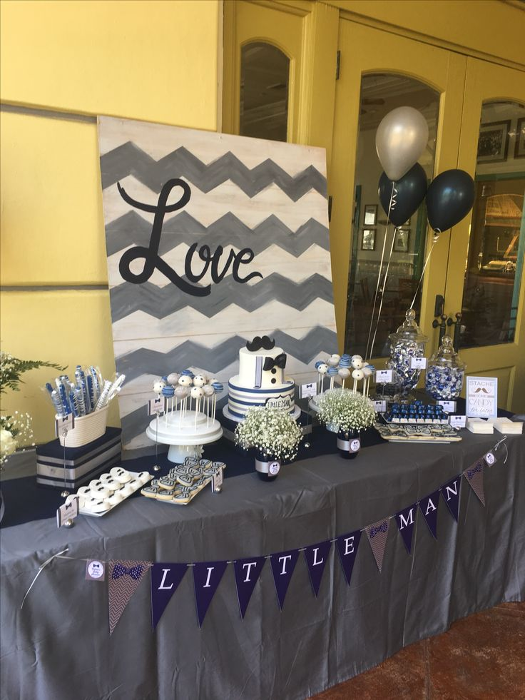 Navy blue and gray themed baby shower.