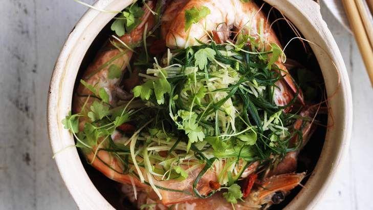 Winter seafood: Adam Liaw's drunken ginger prawns.