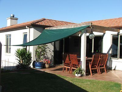 3.6m Garden Green Triangle Sail Shade Sun Shelter Patio Canopy With Fittings