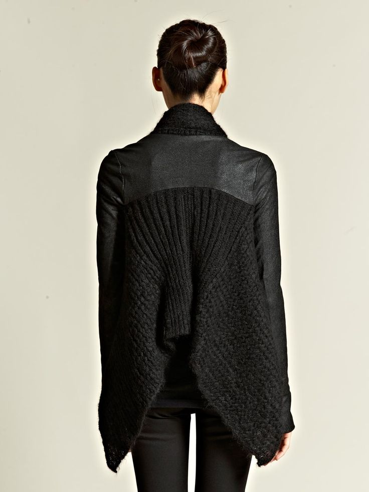 Rick Owens Womens Wraparound Knitted Cloak in Black