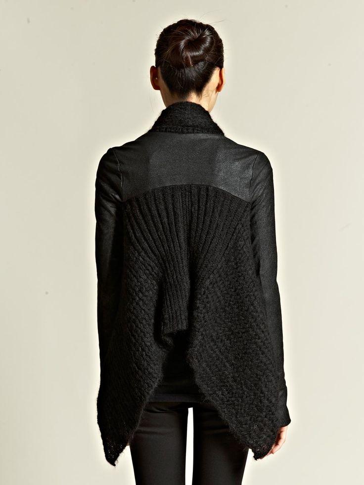 Rick Owens Womens Wraparound Knitted Cloak in Black