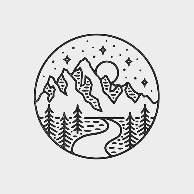 25 best ideas about mountain illustration on pinterest for Simple black and white drawing ideas