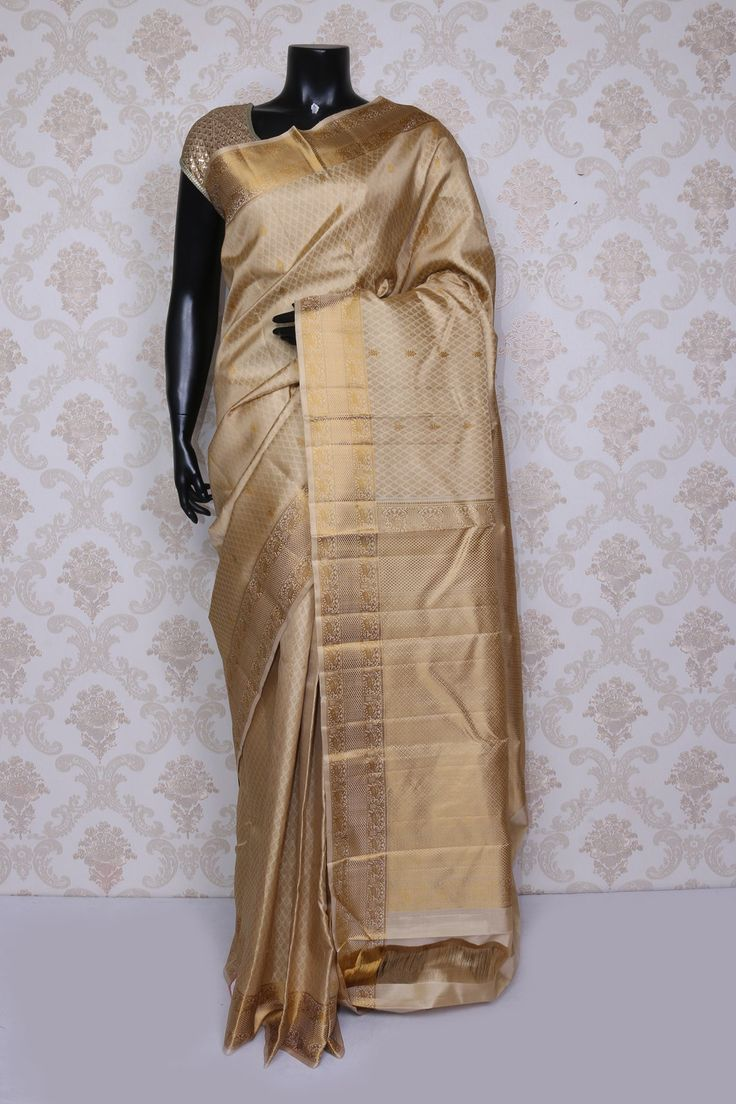 Fetching #golden beige and dull gold pure #kanchipuram silk zari weaved saree-SR14113