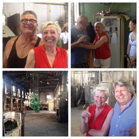 Mieke Drossaert visiting the Berengo Atelier in Murano meeting Silvano Signoretto, Wolfgang Zingerle and Adriano Berengo.