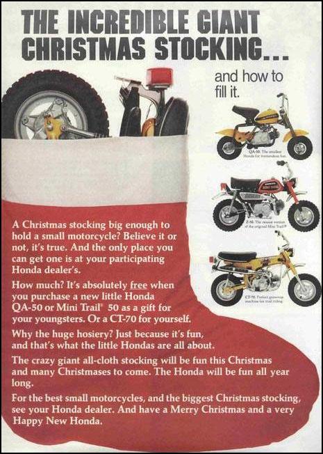 Honda ct and monkey christmas stocking vintage