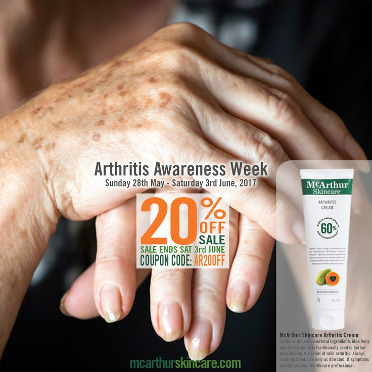 Arthritis Awareness Week   20% OFF McArthur Skincare Arthritis Cream  Sunday 28th of May is the start of Australian Arthritis Awareness Week. To recognise this special awareness week, McArthur Skincare has reduced the price of our popular Arthritis Cream by 20% OFF until midnight Saturday 3rd June, 2017.    Use coupon code: AR20OFF to save 20% OFF Arthritis Cream.  Shop Now: http://mcarthurskincare.com/products/arthritis-cream-75g/  Not available in conjunction with any other offer. Expires…