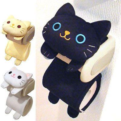 Kawaii Lindo Gato baño titular de rollo de papel de cubierta negro/blanco/Tabby