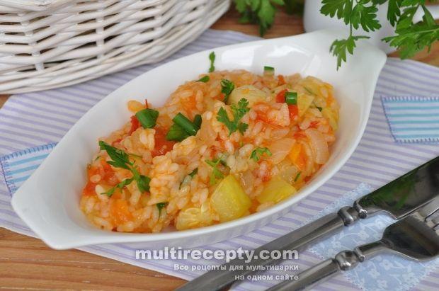 Кабачки с овощами и рисом в мультиварке